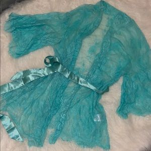 Teal Blue Lace Robe